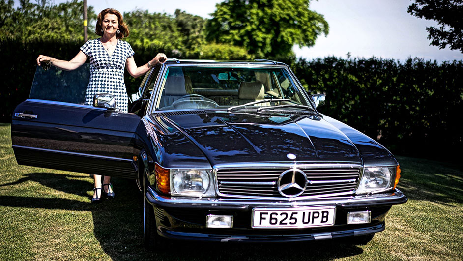 Hart to heart in my 1989 Mercedes 300SL   Classicline Insurance
